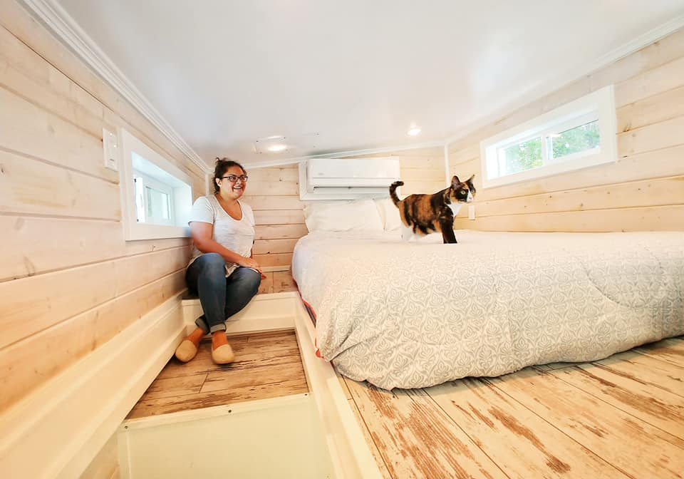 Lizzi the Travel Cat exploring the bedroom of our tiny house in Sarasota, Florida