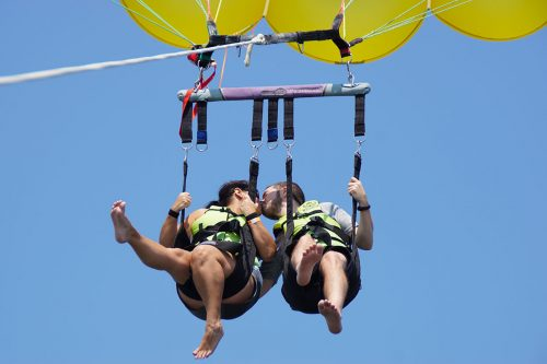 Sky-high Kiss with Island Style Parasail in Newport