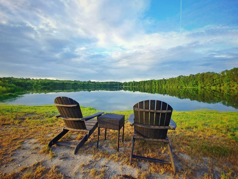 Chairs by the Lake at CreekFire Motor Ranch (near Savannah, GA)