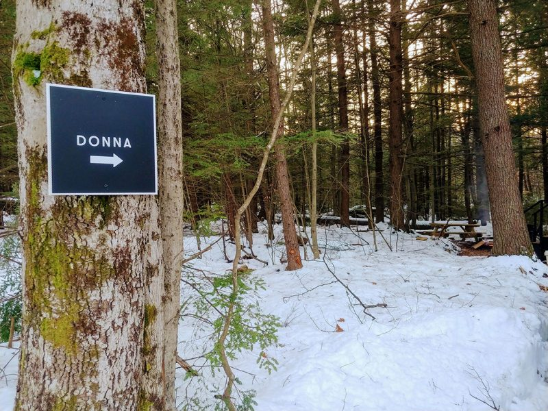 Sign to Donna Cabin at Getaway House Boston