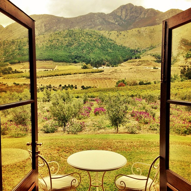 View from Guestroom Patio at La Residence Hotel, Franschhoek, South Africa